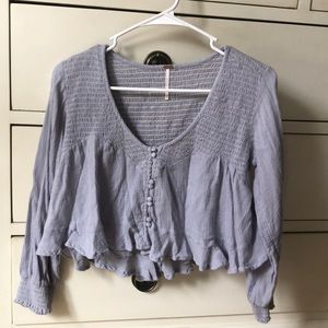 Free People Lilac Crop Blouse